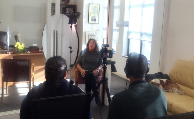 Bonnie Reiss being interviewed for the documentary that examines the history of after-school programs and their value to children, families and communities