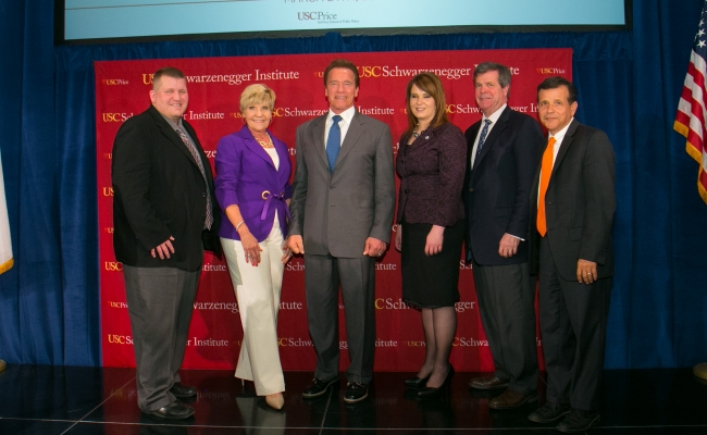 Mayor Jeffrey Lunde-Brooklyn Park, MN, Mayor Betsy Price-Fort Worth, TX, Arnold Schwarzenegger, Mayor Cherie Wood-South Salt Lake City, UT, Mayor Karl Dean-Nashville, TN, and Mayor Miguel Pulido-Santa