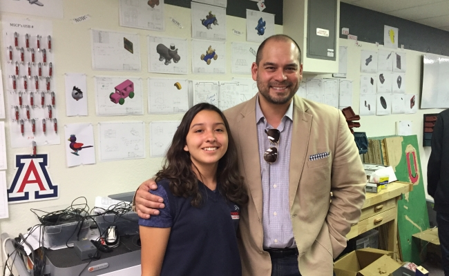 Emilio Pack and student at the  Math and Science College Preparatory in Central Los Angeles