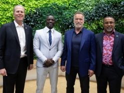 Governor Schwarzenegger, Akon, and Mayor Faulconer discuss Climate Change Investments