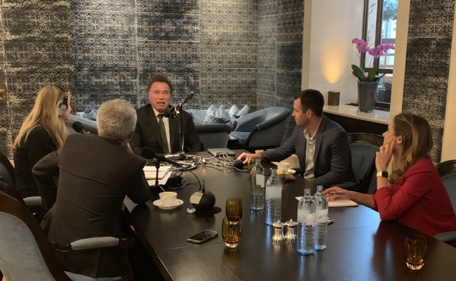 Arnold Schwarzenegger talks to Political Climate co-hosts Shane Skelton, Brandon Hurlbut, and Julia Pyper.