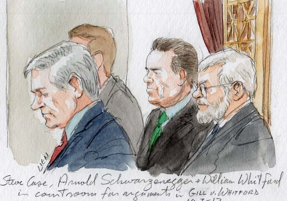 Steve Case, Arnold Schwarzenegger and William Whitford seated in courtroom during argument (Art Lien)